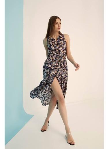 Modaset Çiçek Desen Düğmeli Elbise  Lacivert